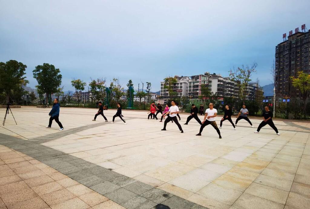 Chen Style Taijiquan Practical Method early morning practice at Yinshi Park, Gutian, Fujian, China
