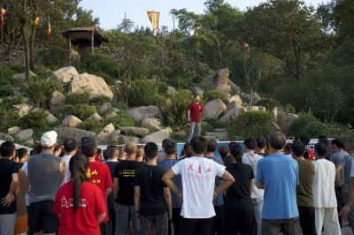 28th Daqingshan Seminar. Master Chen Zhonghua teaches a concept each morning during the early morning session at the Taiji Square on Daqinshan.
