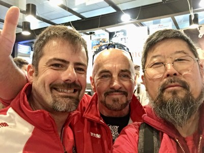Michael Angelo, Jiuseppe Bon, Chen Zhonghua at the airport in Treviso.