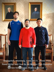 Pawel Mueller and Chen Xu at Daqingshan with their Shifu Chen Zhonhua